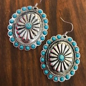 Jewelry - Silver & Turquoise Concho Earrings